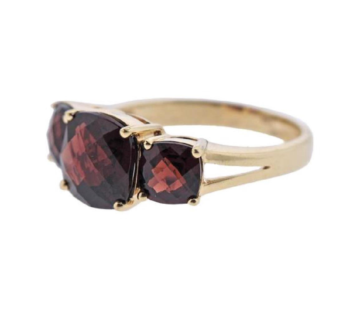 14K Gold Red Gemstone Ring - 2