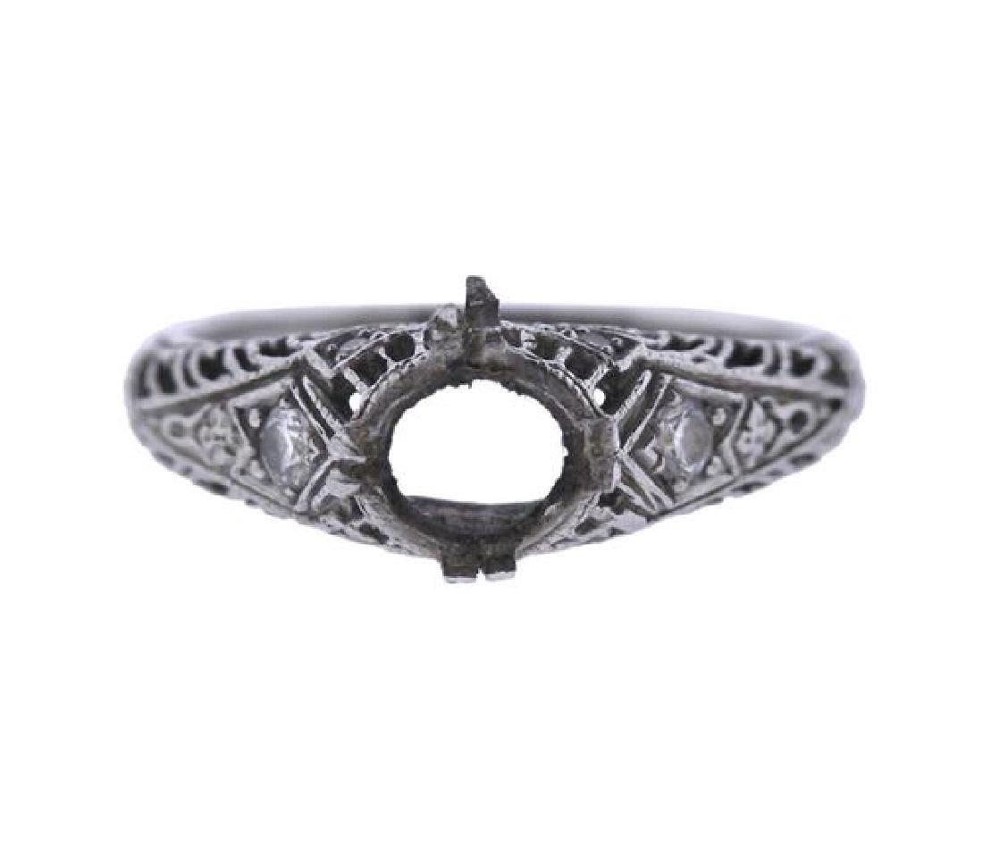 Art Deco Filigree Platinum Diamond Ring Mounting