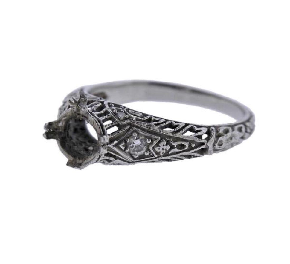 Art Deco Filigree Platinum Diamond Ring Mounting - 2