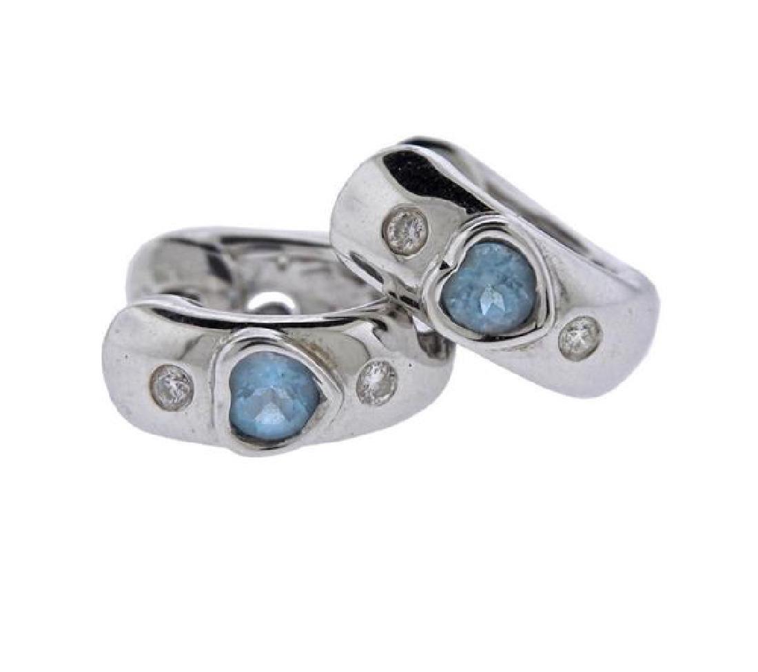 18K Gold Diamond Blue Gemstone Huggie Earrings