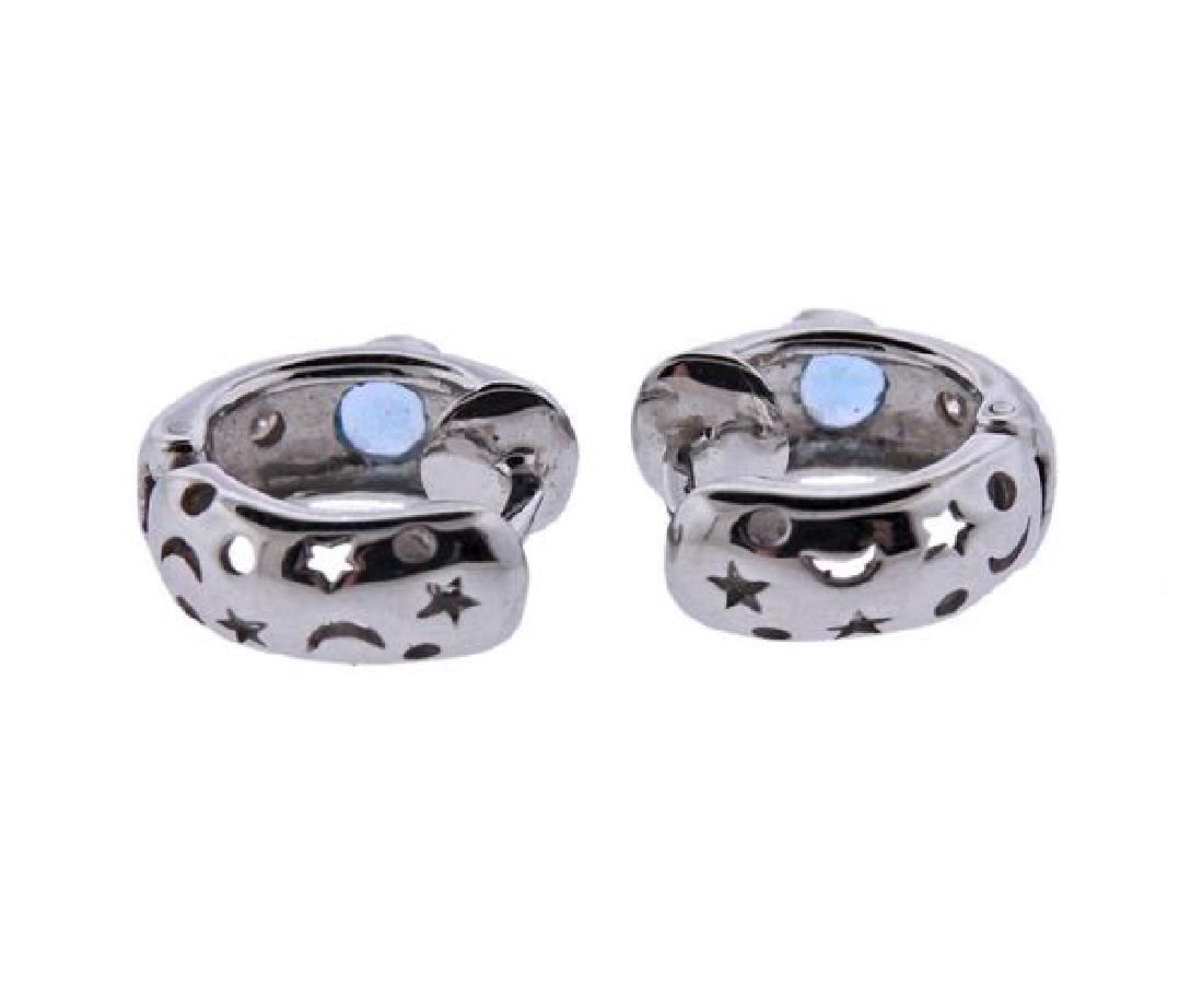 18K Gold Diamond Blue Gemstone Huggie Earrings - 3