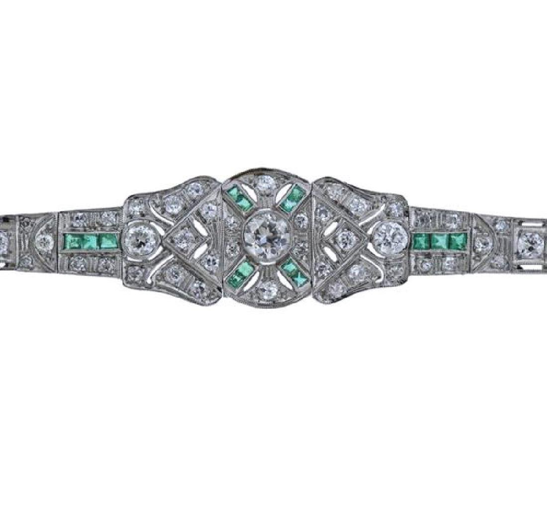 Art Deco Platinum Diamond Emerald Bracelet - 2
