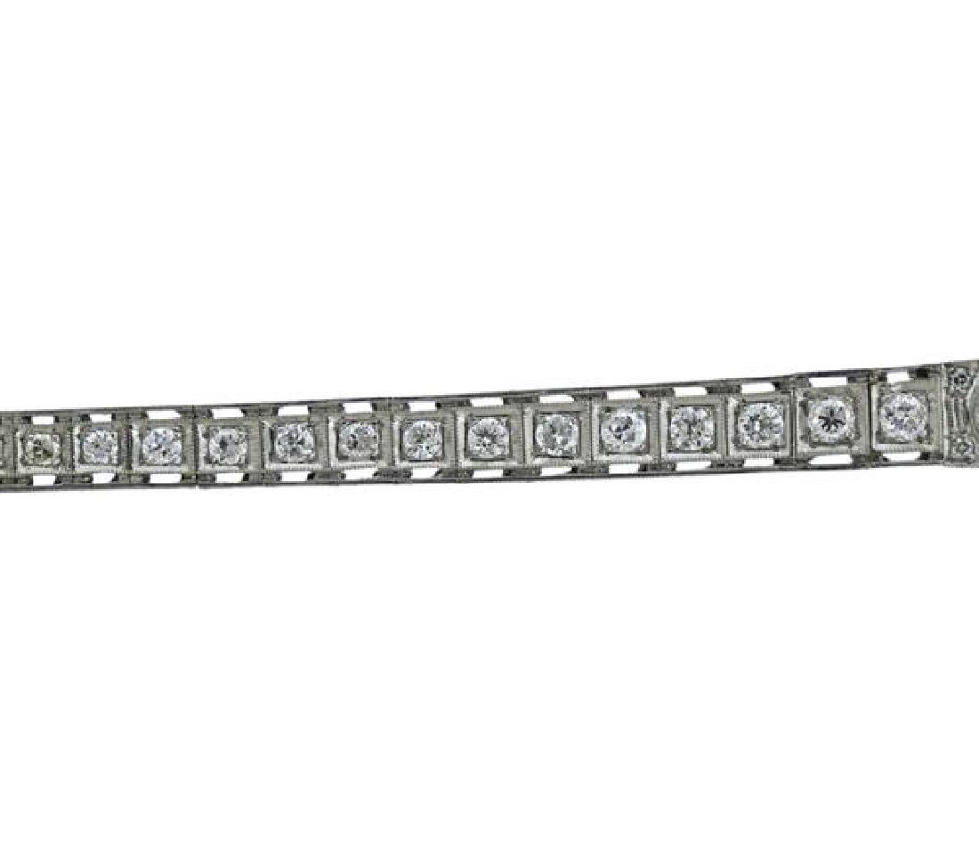 Art Deco Platinum Diamond Emerald Bracelet - 3