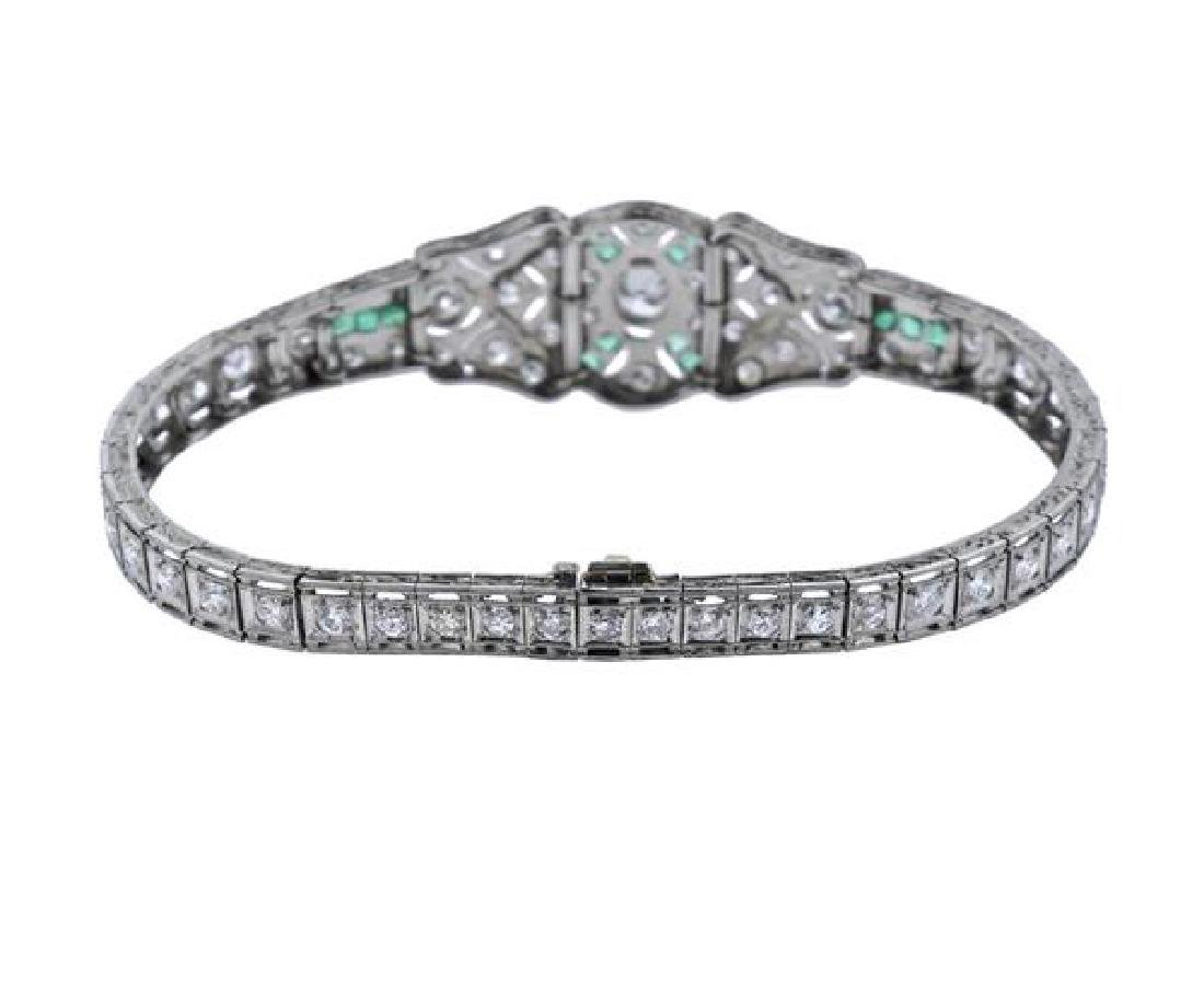 Art Deco Platinum Diamond Emerald Bracelet - 5