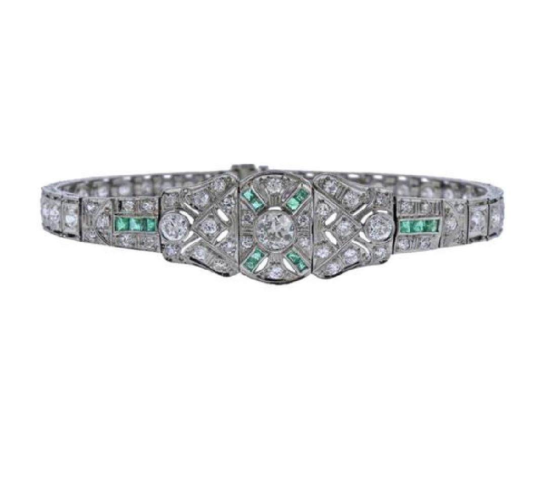 Art Deco Platinum Diamond Emerald Bracelet - 6