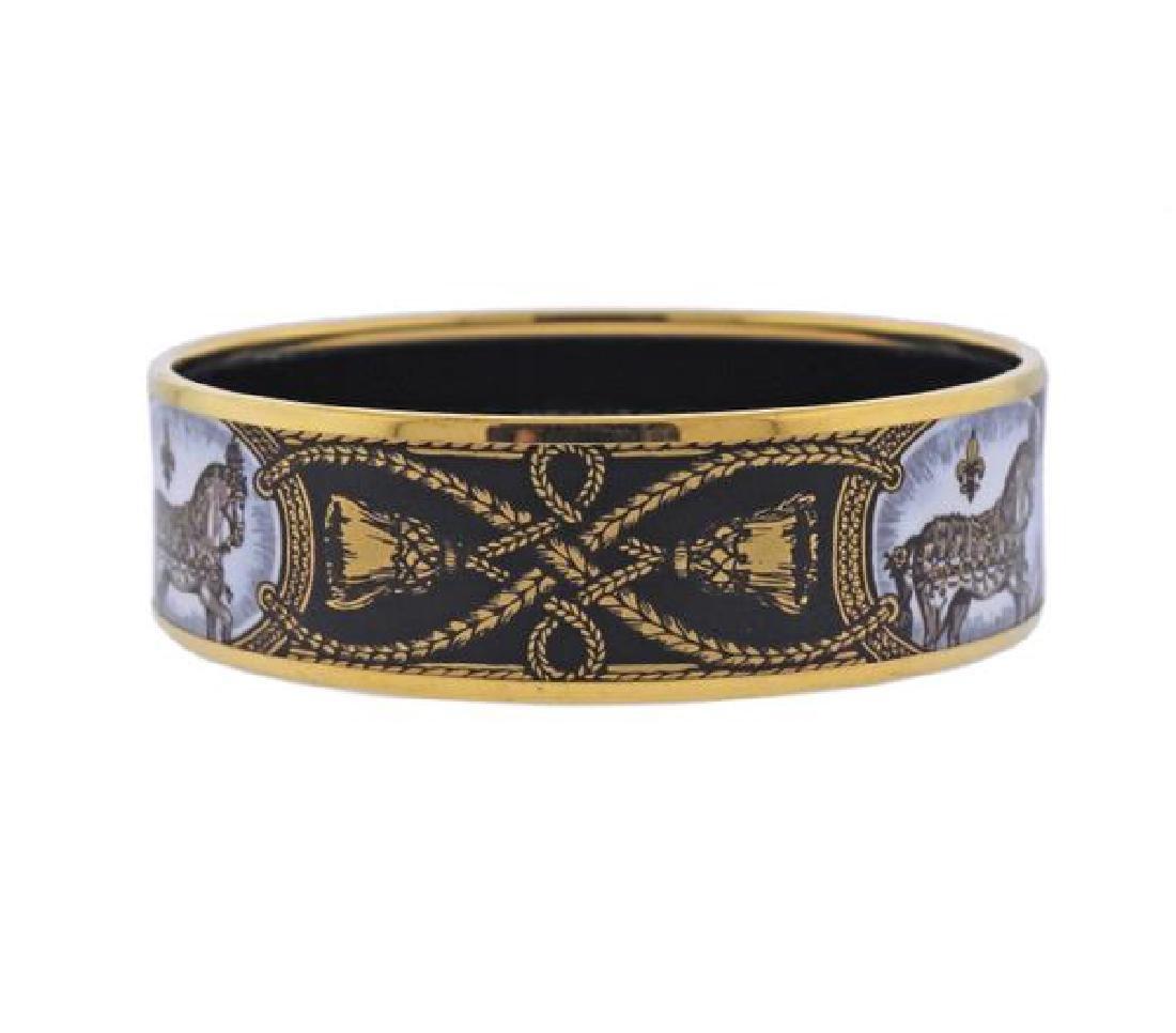 Hermes Grand Apparat Enamel Bangle Bracelet