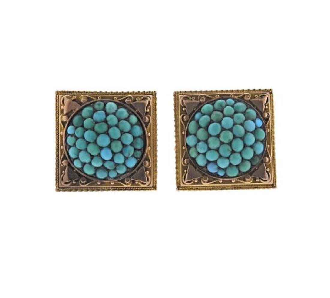 Antique 14k Gold  Turquoise Earrings