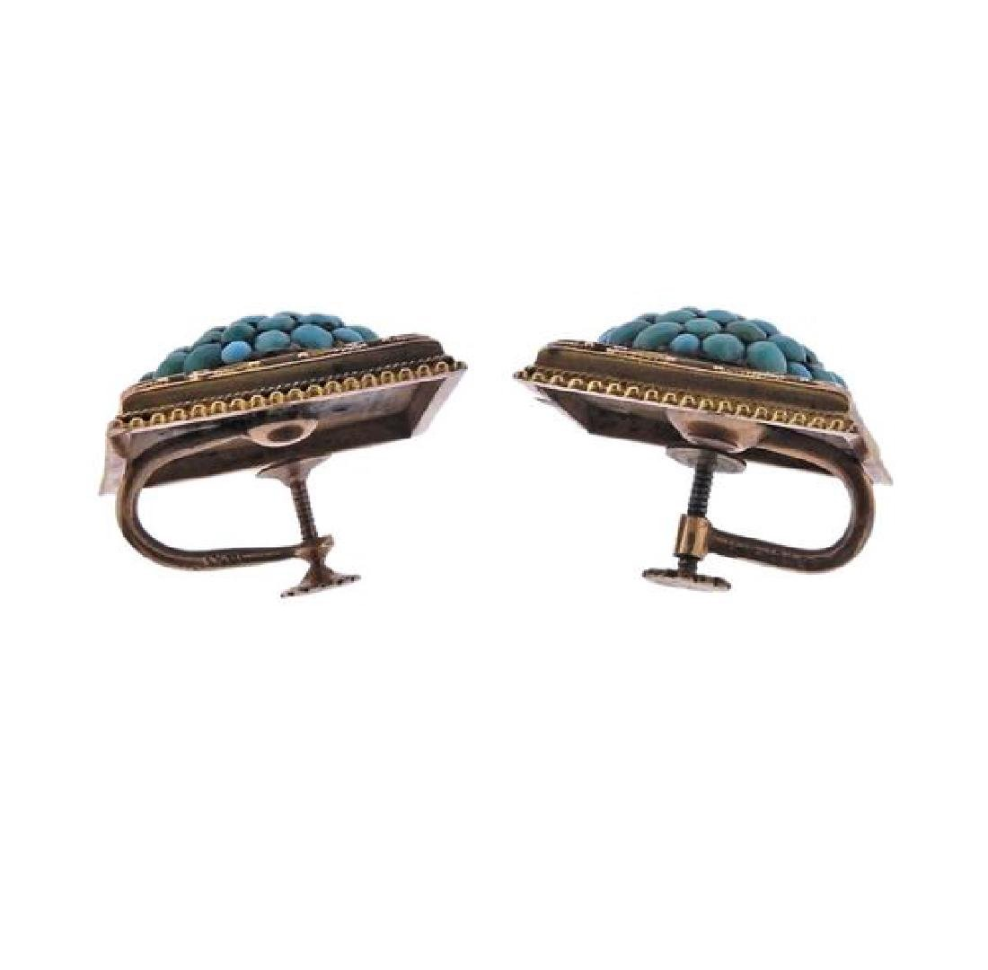 Antique 14k Gold  Turquoise Earrings - 2