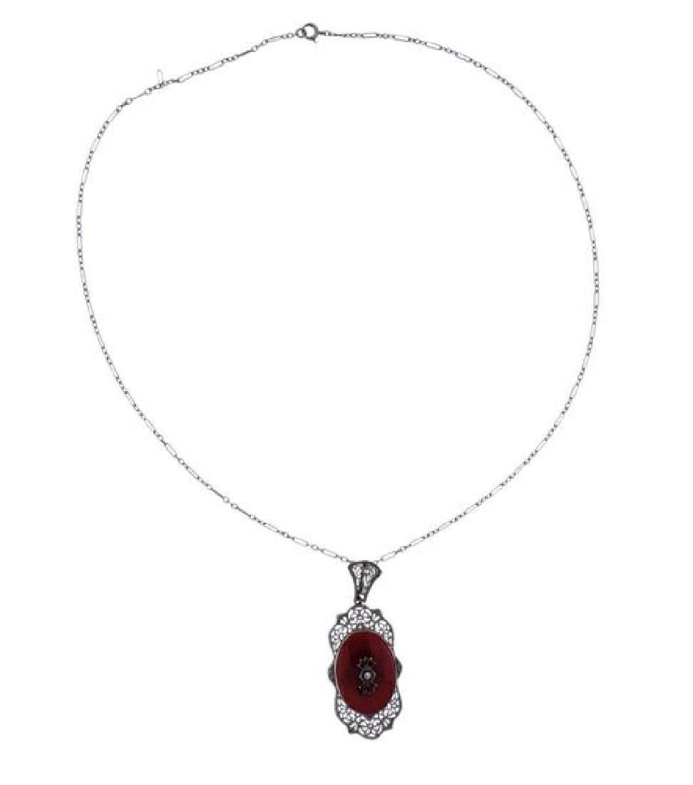 Art Deco 14k Gold Diamond Carnelian Pendant Necklace