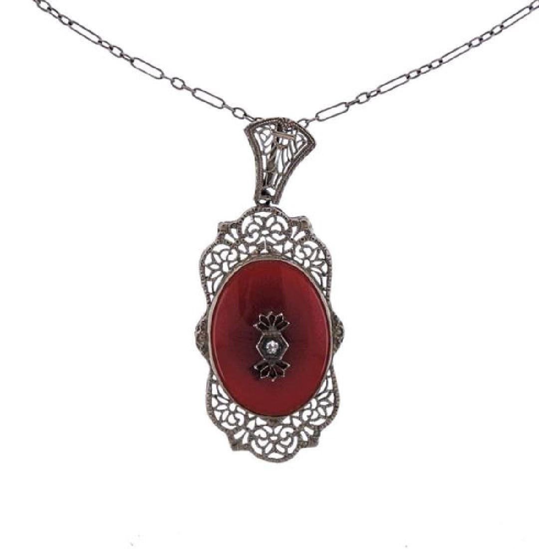 Art Deco 14k Gold Diamond Carnelian Pendant Necklace - 2