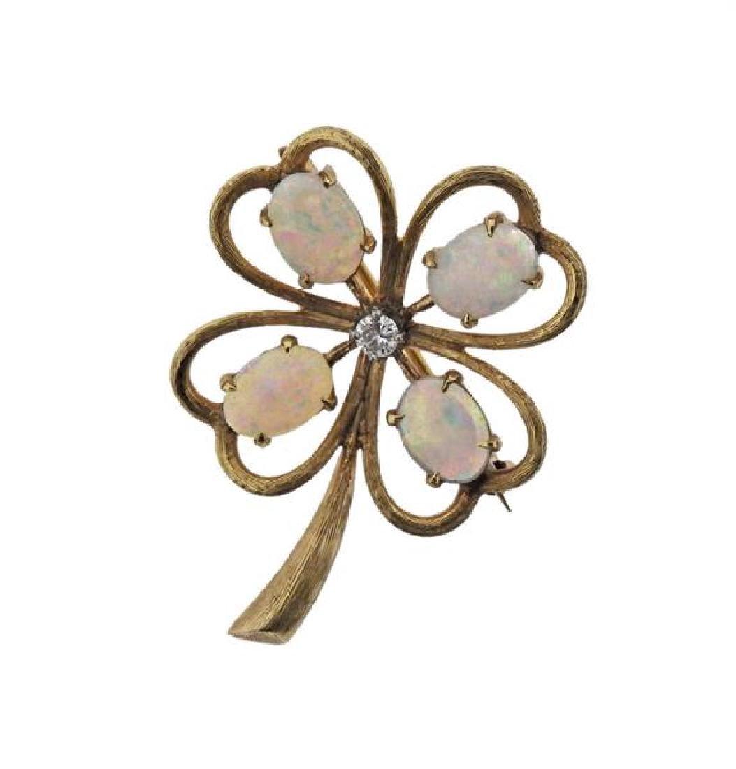 14k Gold Diamond Opal Flower Brooch Pin