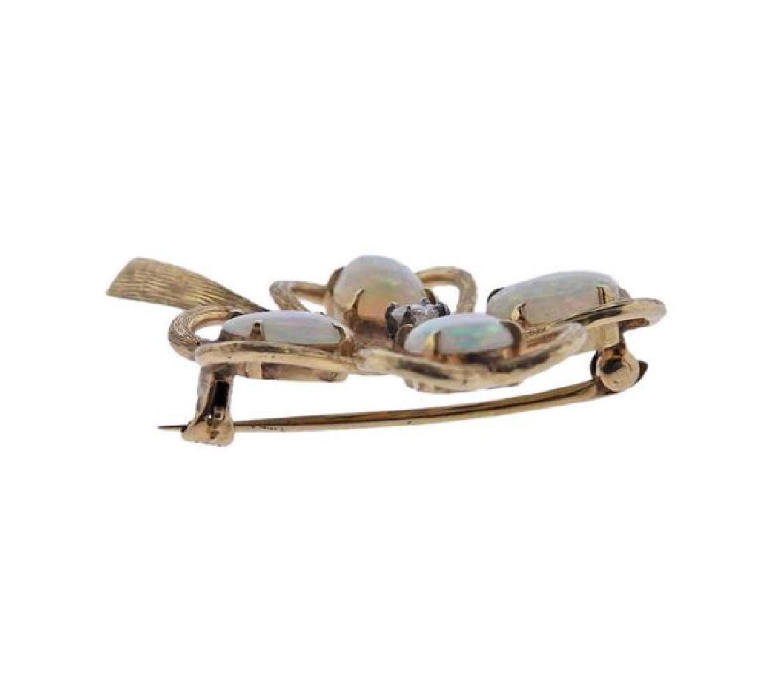 14k Gold Diamond Opal Flower Brooch Pin - 2