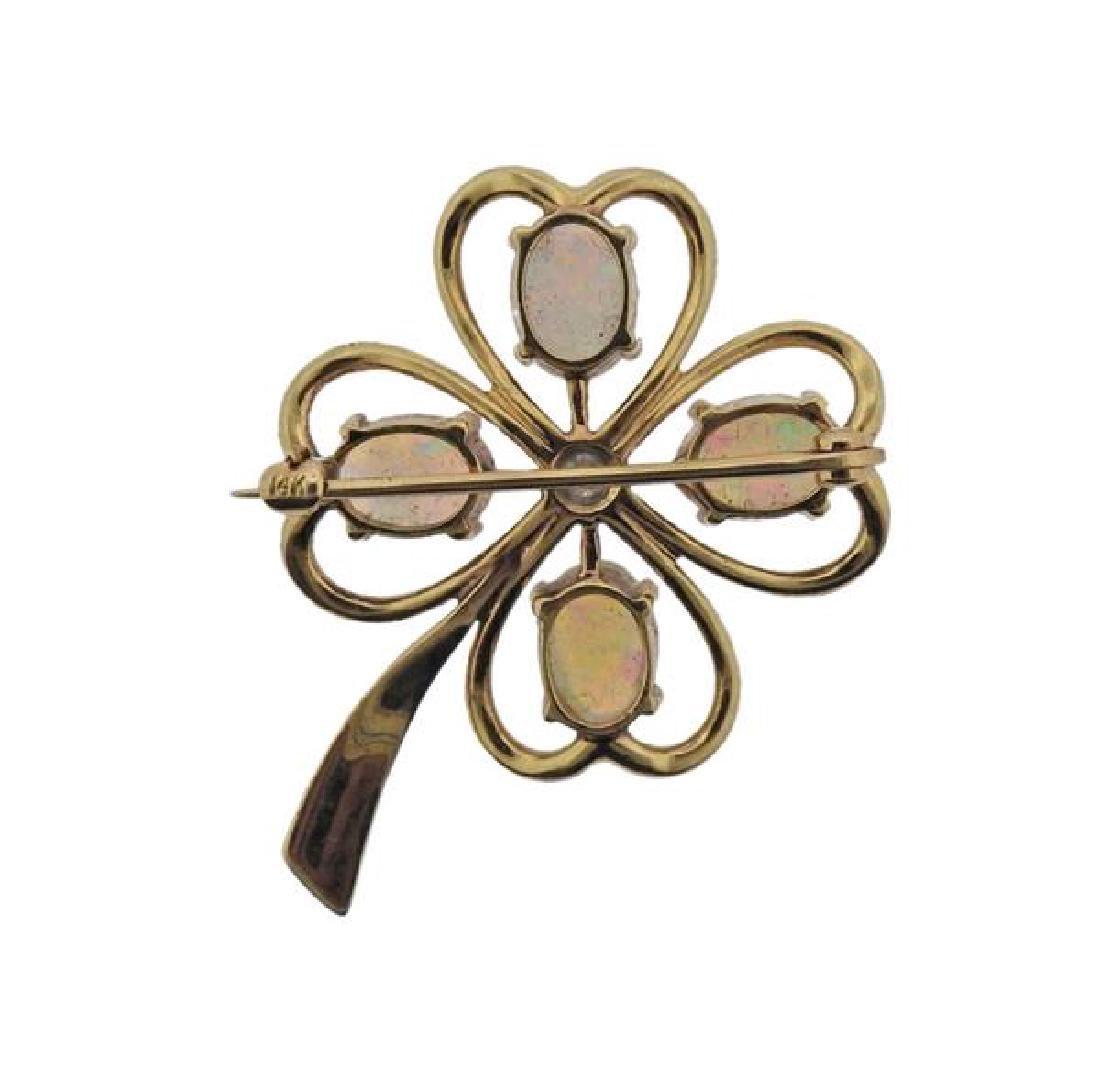 14k Gold Diamond Opal Flower Brooch Pin - 3