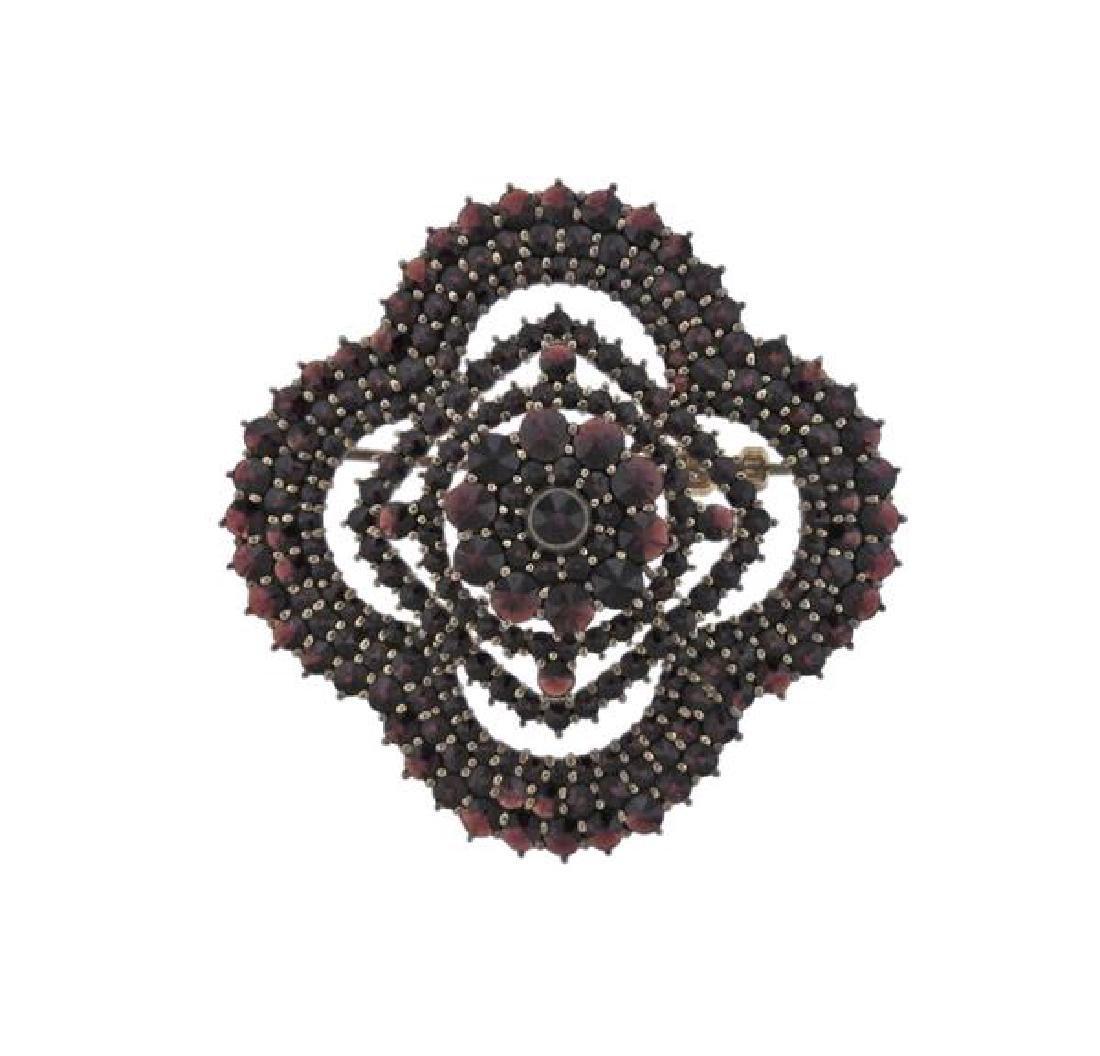 Antique Bohemian Garnet Brooch Pin