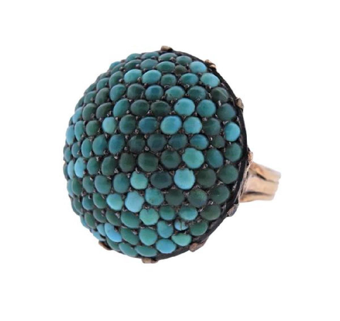 Antique 14k Gold Turquoise Dome Ring - 2