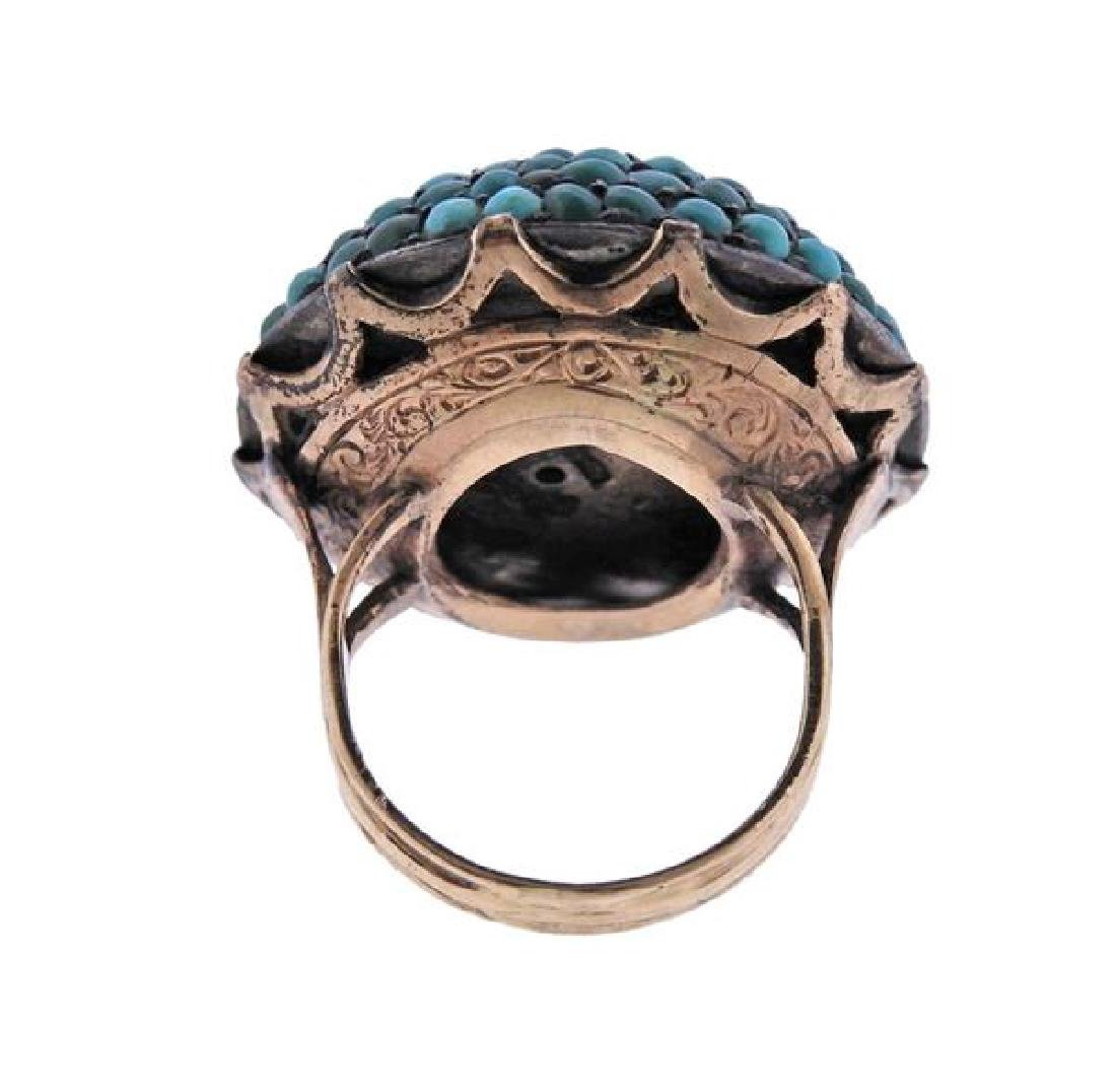 Antique 14k Gold Turquoise Dome Ring - 3