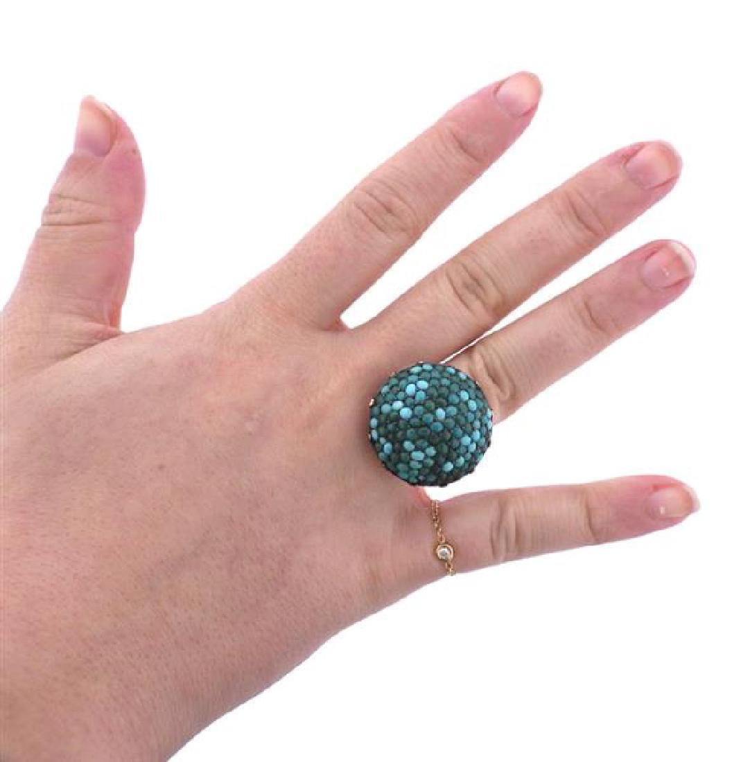 Antique 14k Gold Turquoise Dome Ring - 4