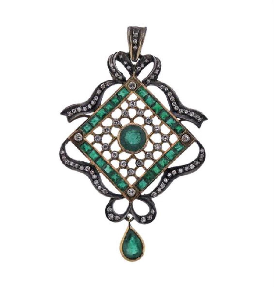 18k Gold Silver Emerald Diamond Pendant
