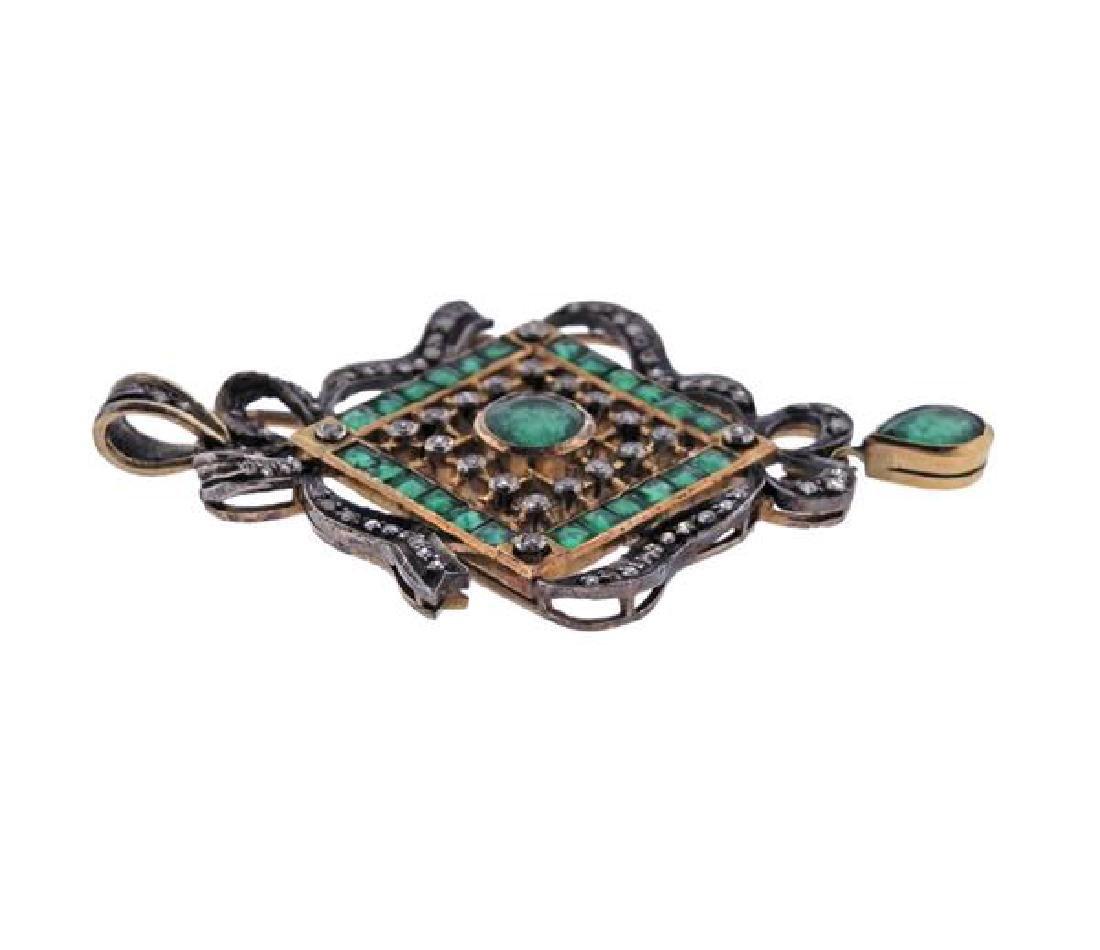 18k Gold Silver Emerald Diamond Pendant - 2