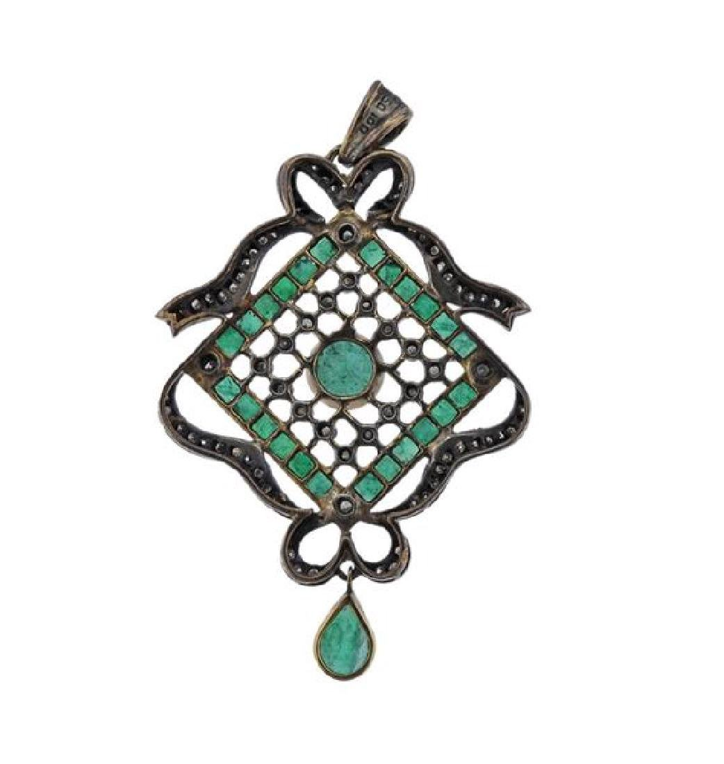 18k Gold Silver Emerald Diamond Pendant - 3