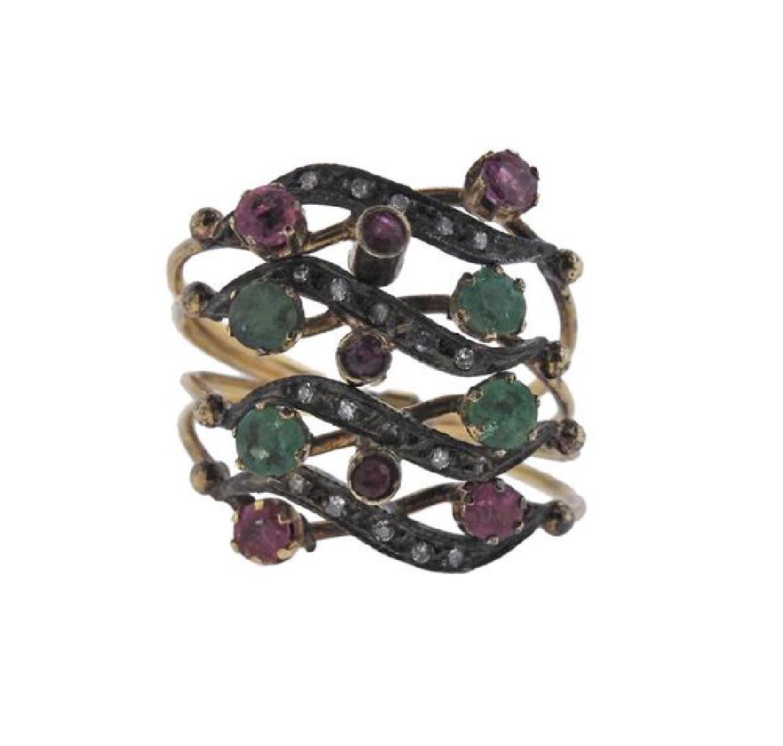 Antique Gold Silver Diamond Emerald Ruby Harem Ring