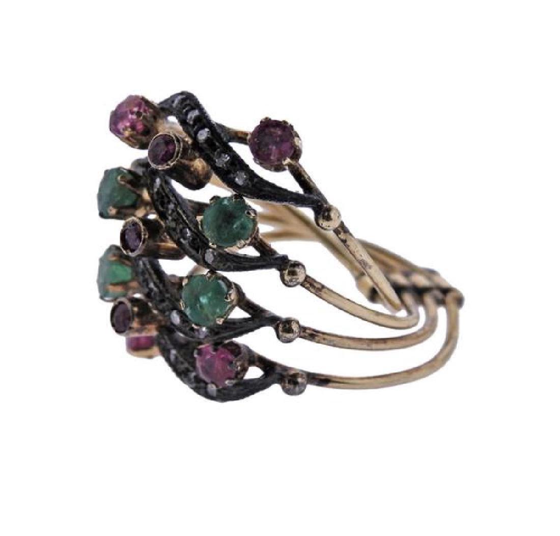Antique Gold Silver Diamond Emerald Ruby Harem Ring - 2