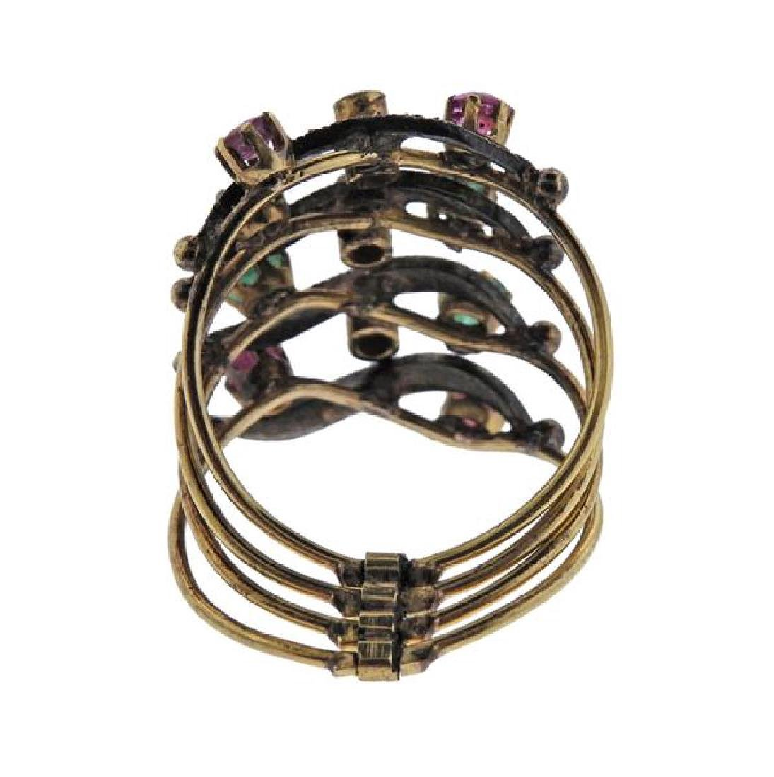 Antique Gold Silver Diamond Emerald Ruby Harem Ring - 3