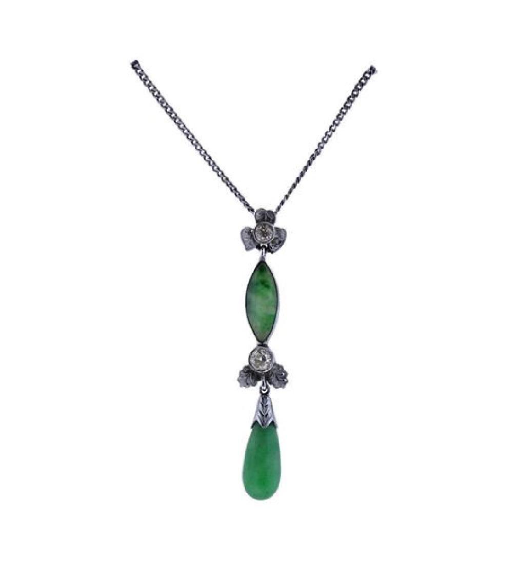 14k Gold Diamond Jade Pendant Necklace