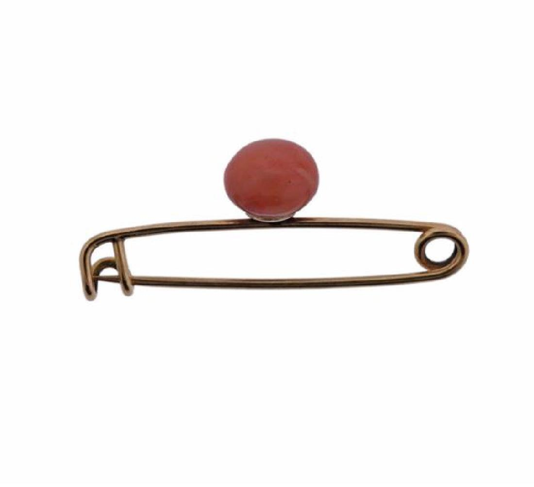 Antique 18k Gold Coral Safety Pin Brooch - 3