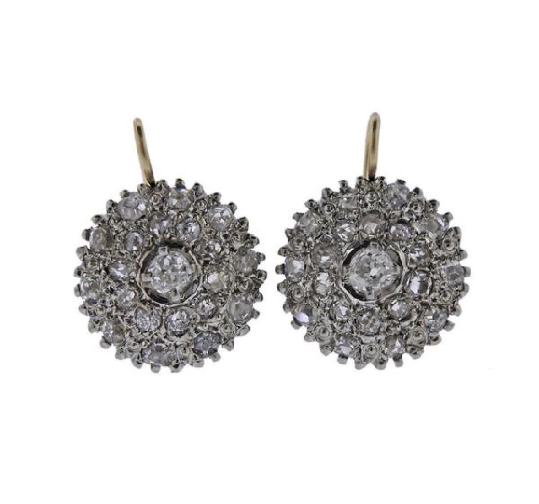Antique 14k Gold Old Mine Diamond Earrings
