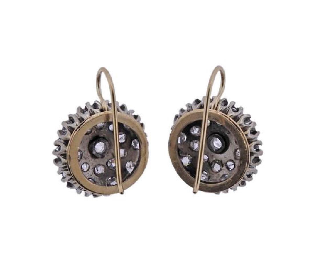 Antique 14k Gold Old Mine Diamond Earrings - 3
