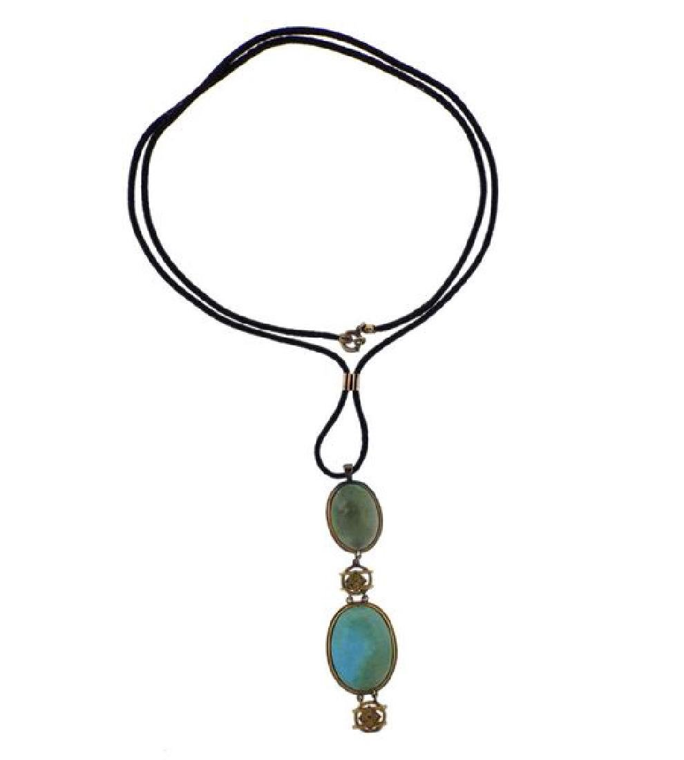 14k Gold Cord Turquoise Pendant Necklace