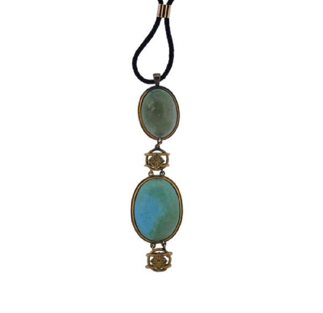 14k Gold Cord Turquoise Pendant Necklace - 2