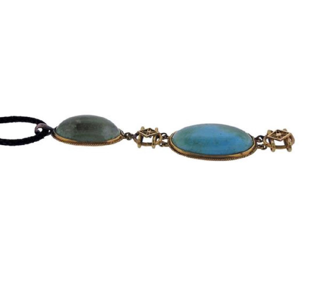 14k Gold Cord Turquoise Pendant Necklace - 3