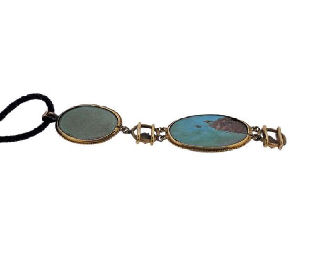 14k Gold Cord Turquoise Pendant Necklace - 4