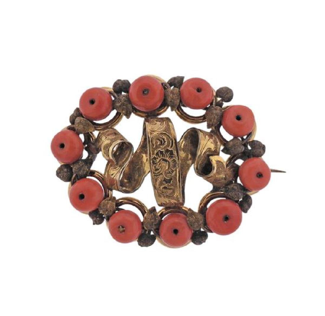 Antique 14k Gold Coral Brooch Pin
