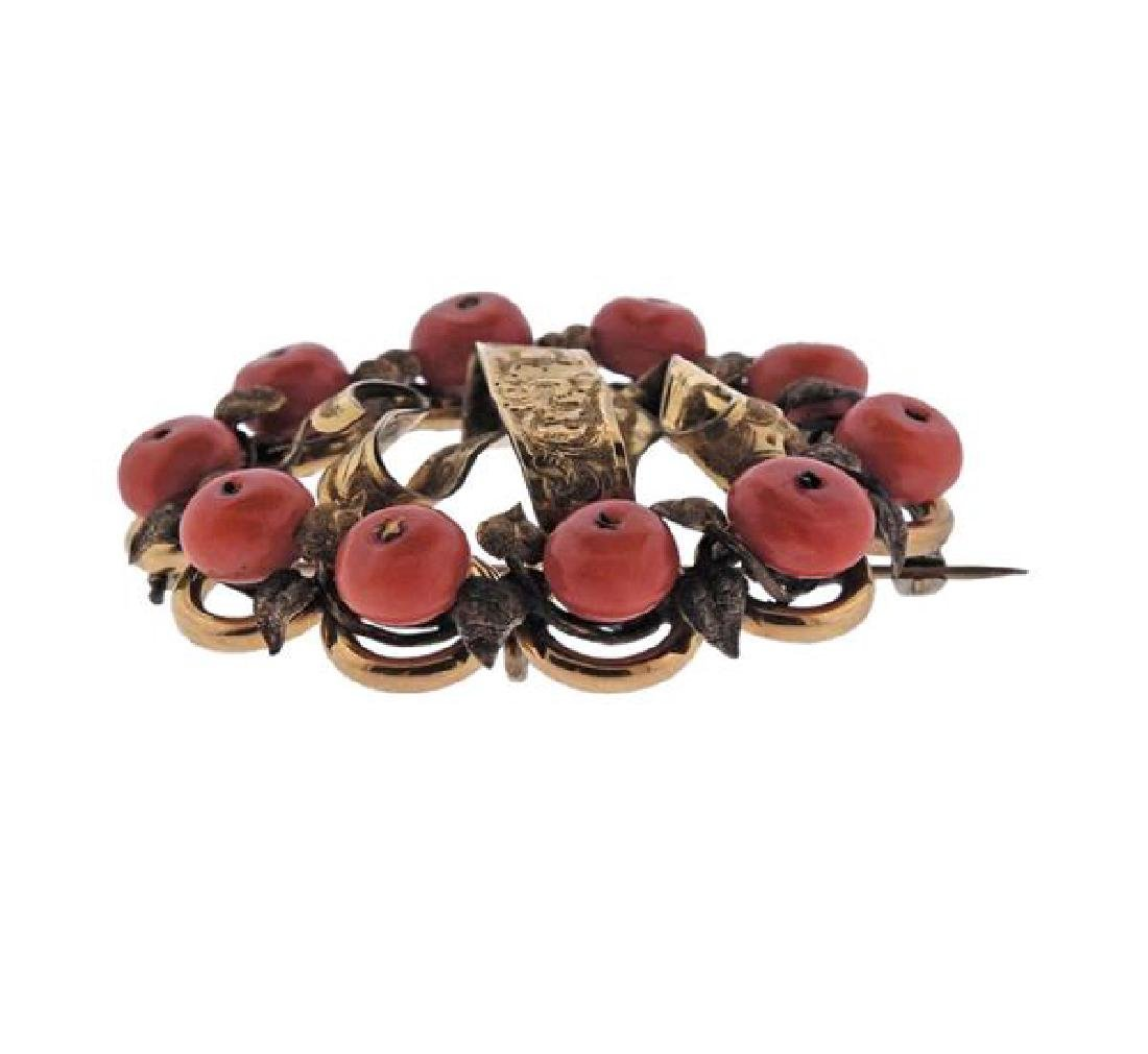 Antique 14k Gold Coral Brooch Pin - 2