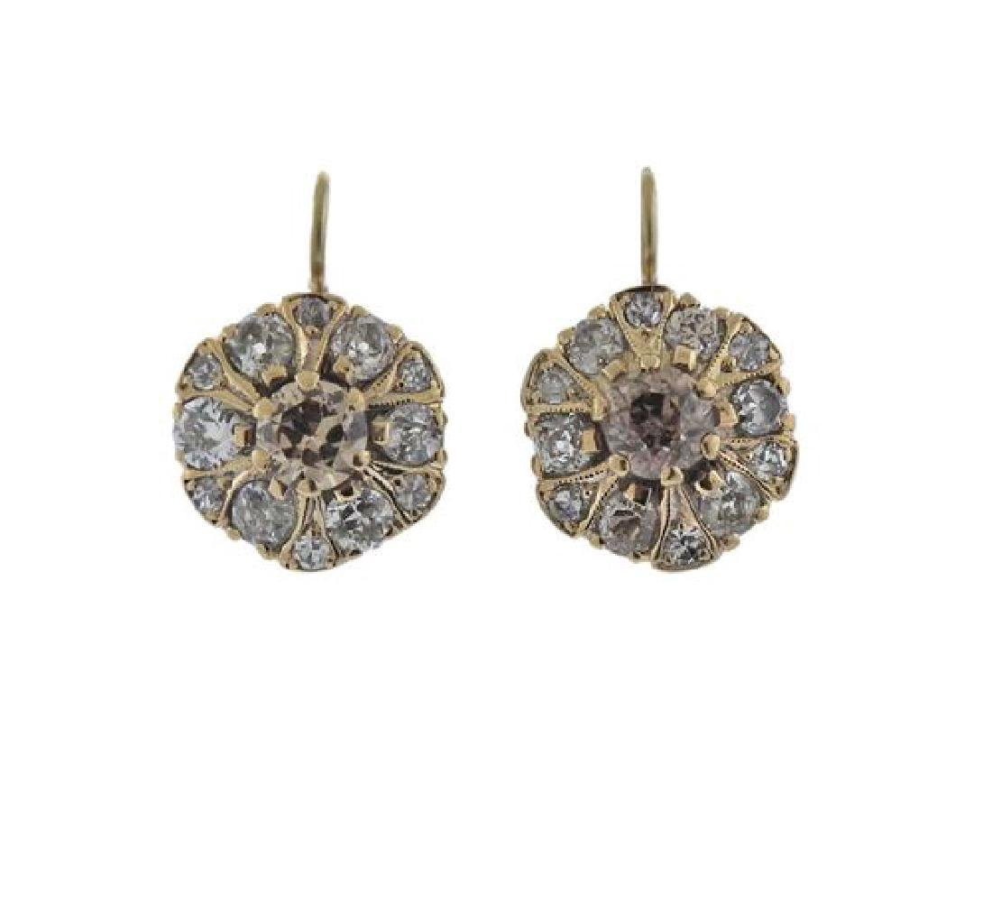 Antique 14k Gold Diamond Earrings