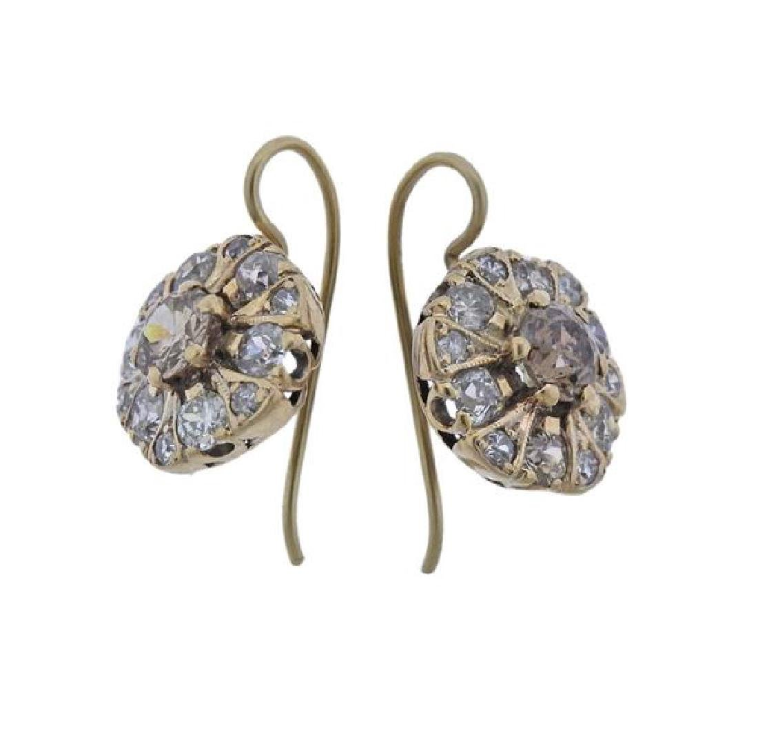 Antique 14k Gold Diamond Earrings - 2