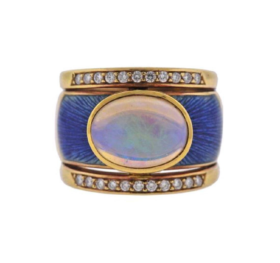18k Gold Diamond Opal Enamel Ring