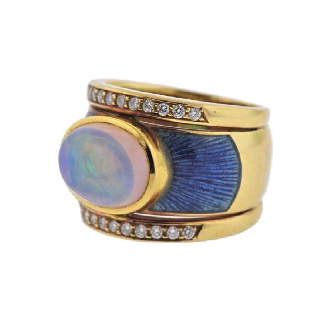 18k Gold Diamond Opal Enamel Ring - 2