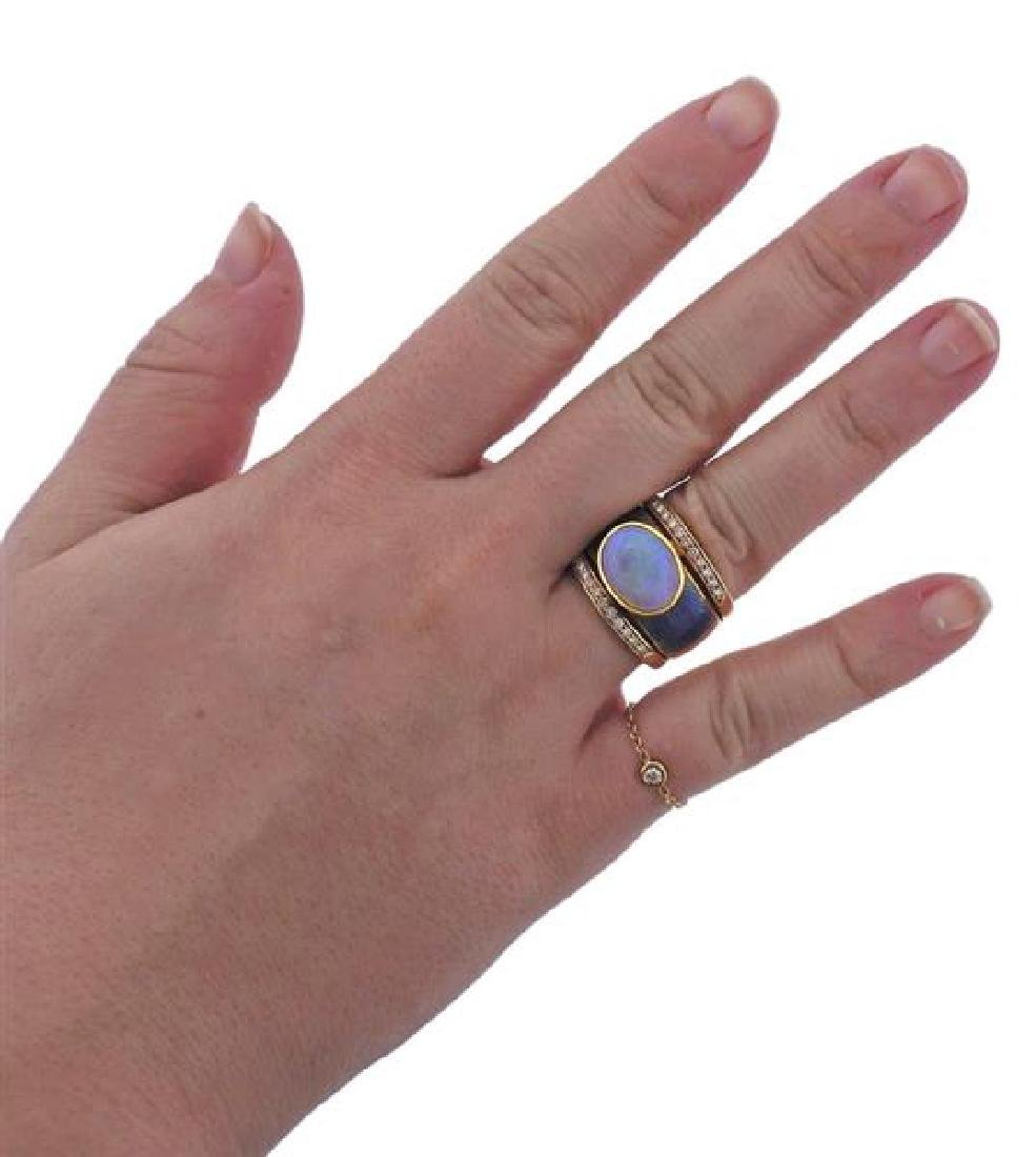 18k Gold Diamond Opal Enamel Ring - 5