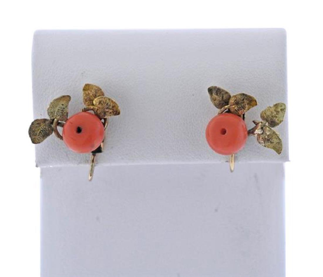 Antique 14k Gold Coral Earrings