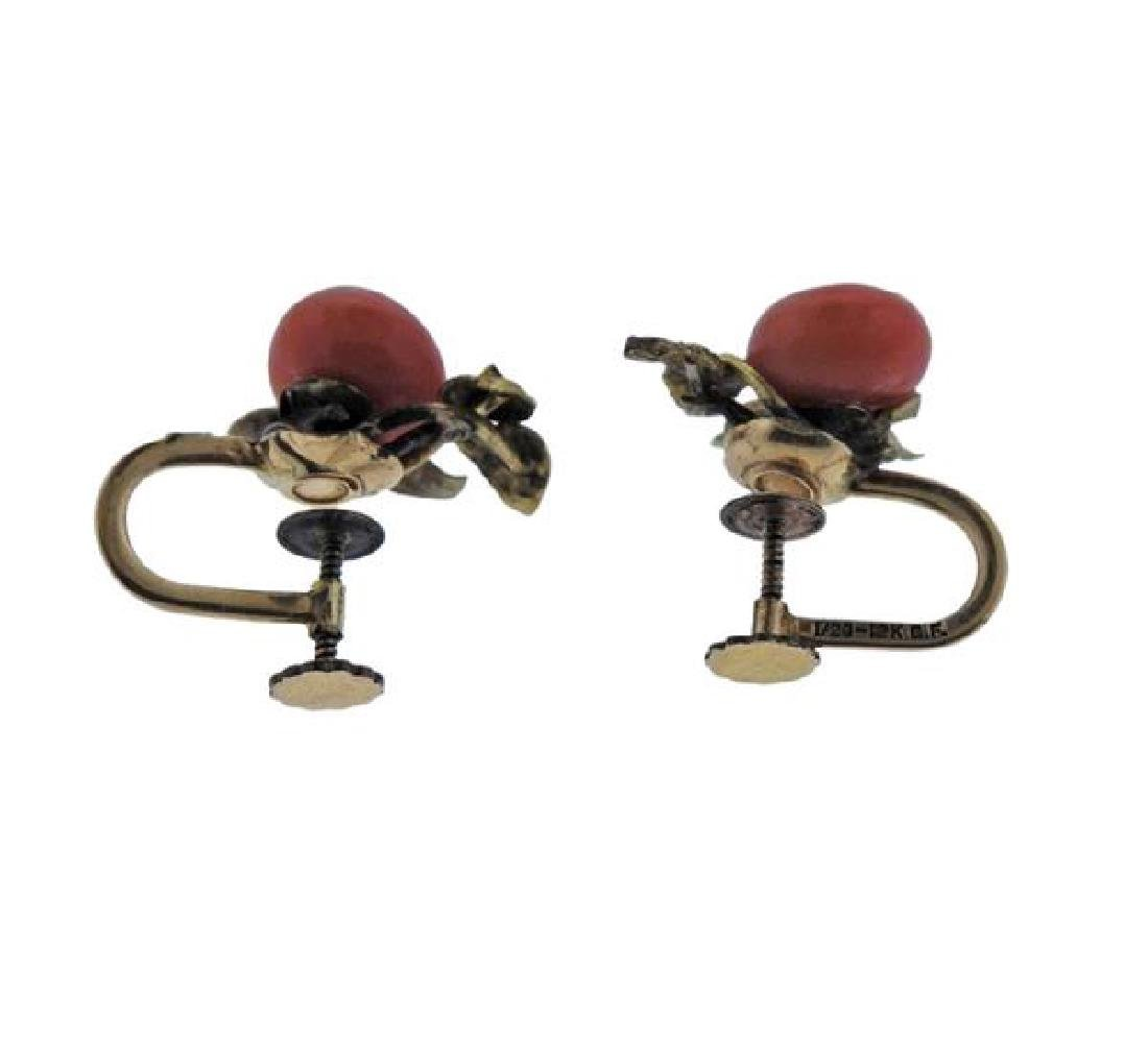 Antique 14k Gold Coral Earrings - 3