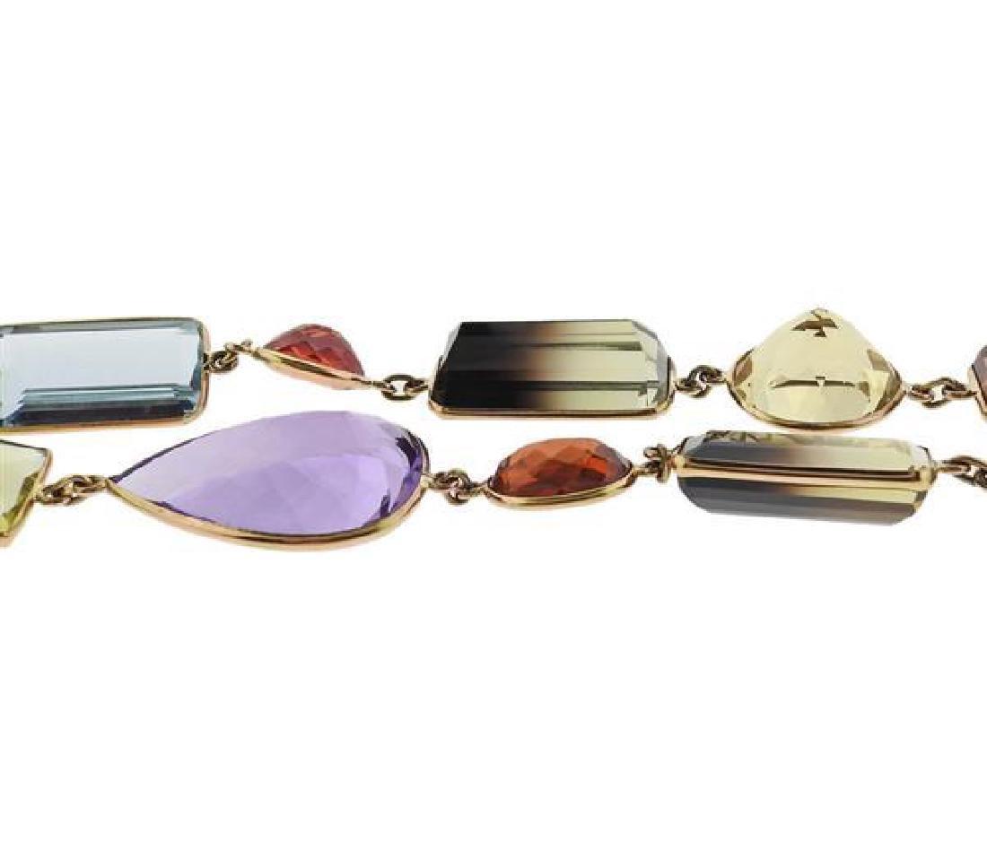 18k Gold Gemstone Long Necklace - 2