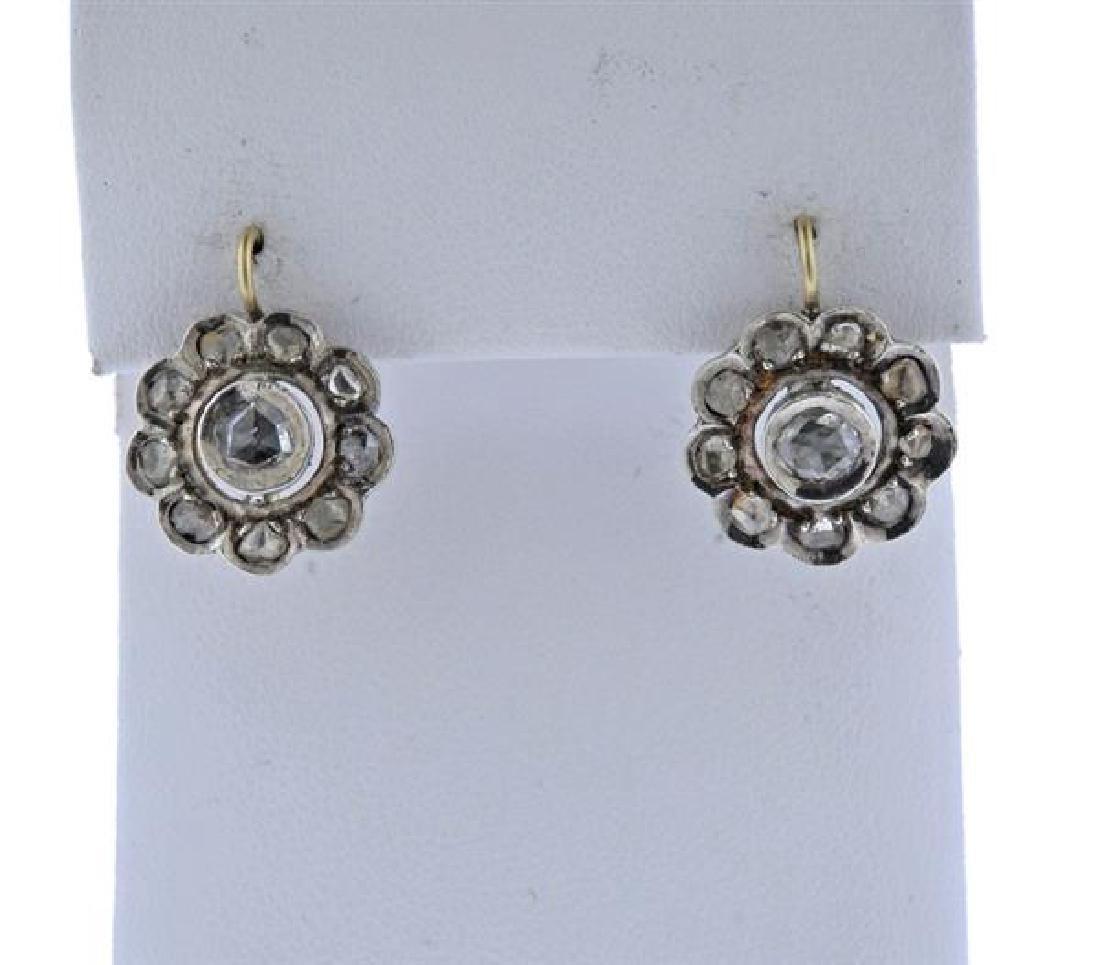 Antique Silver Gold Rose Cut Diamond Earrings