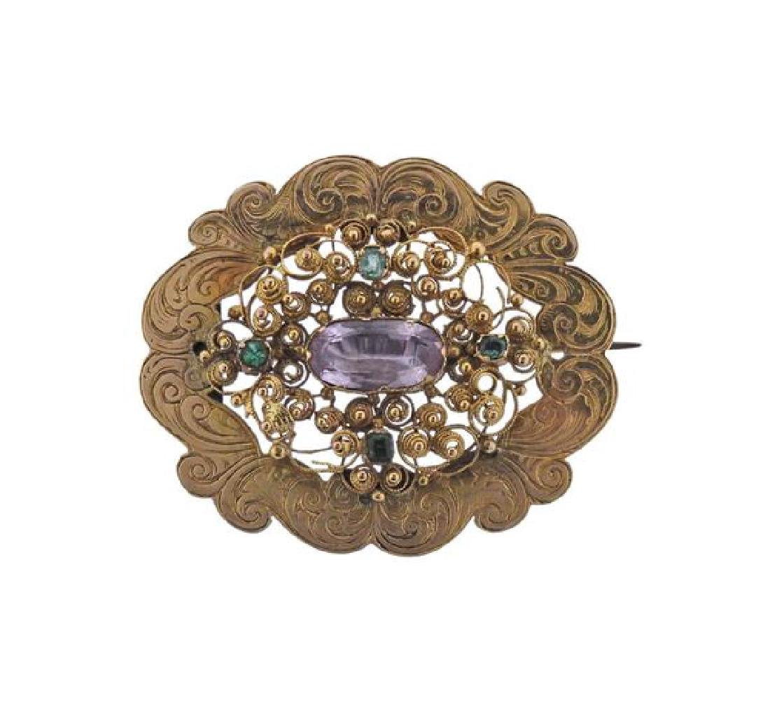 Antique 14k Gold Pink Green Stone Brooch