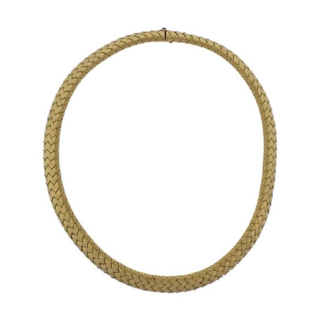 Roberto Coin 18k Gold Sapphire Woven Necklace