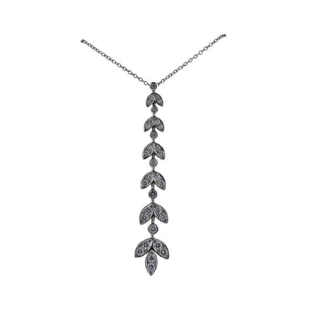 Tiffany & Co Platinum Diamond Leaf Pendant Necklace - 2