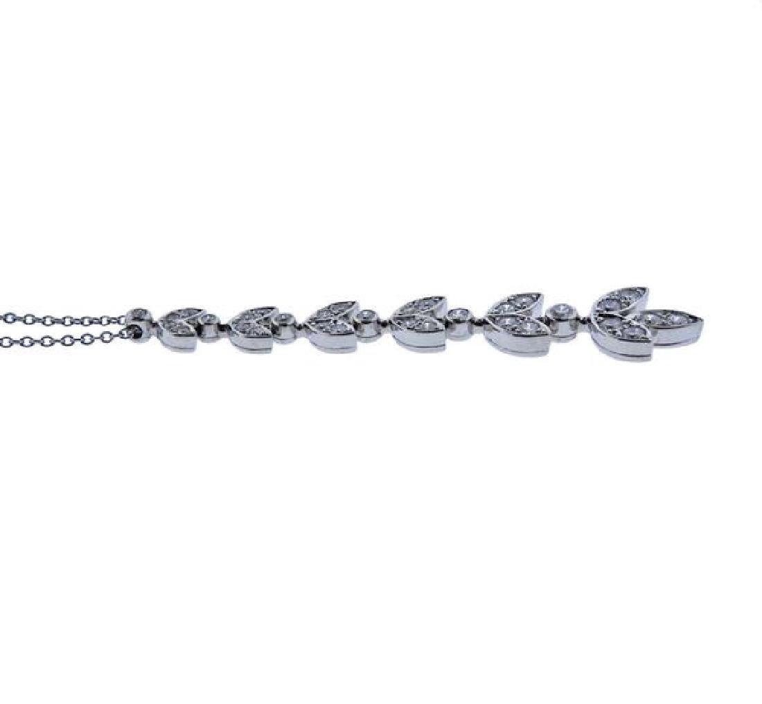 Tiffany & Co Platinum Diamond Leaf Pendant Necklace - 3